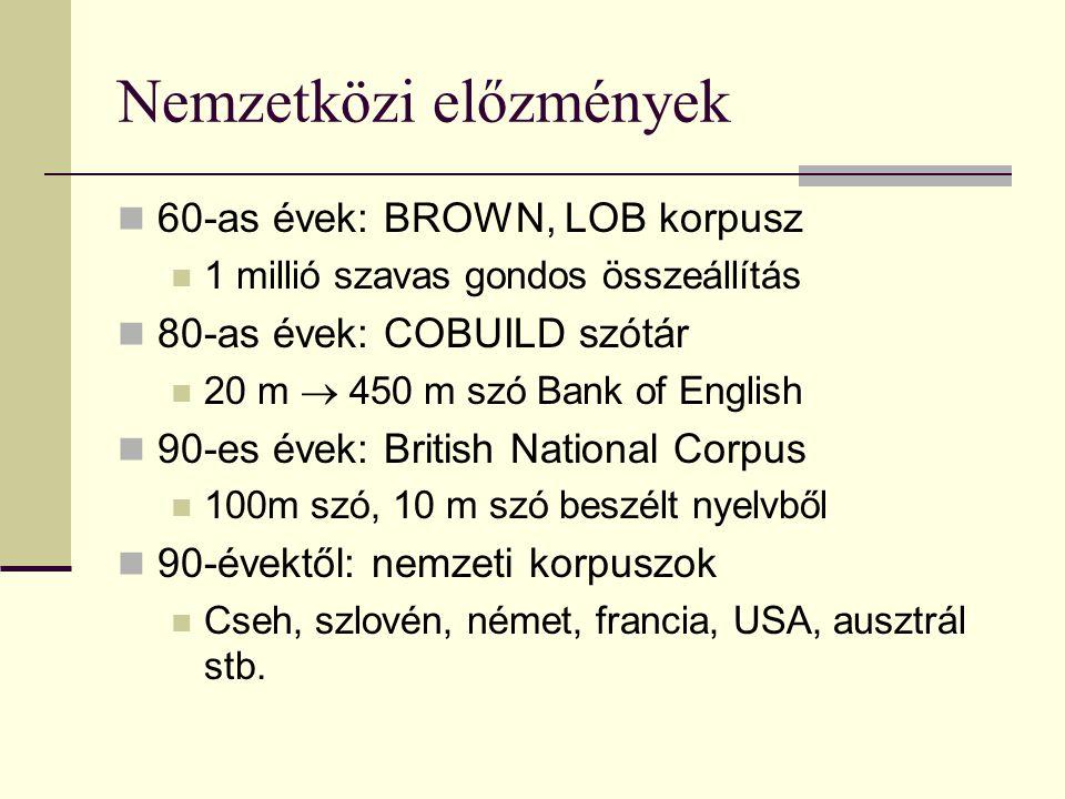 Nemzetközi előzmények 60-as évek: BROWN, LOB korpusz 1 millió szavas gondos összeállítás 80-as évek: COBUILD szótár 20 m  450 m szó Bank of English 90-es évek: British National Corpus 100m szó, 10 m szó beszélt nyelvből 90-évektől: nemzeti korpuszok Cseh, szlovén, német, francia, USA, ausztrál stb.