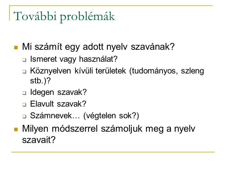 További problémák Mi számít egy adott nyelv szavának?  Ismeret vagy használat?  Köznyelven kívüli területek (tudományos, szleng stb.)?  Idegen szav