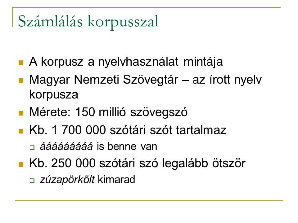 Számlálás korpusszal A korpusz a nyelvhasználat mintája Magyar Nemzeti Szövegtár – az írott nyelv korpusza Mérete: 150 millió szövegszó Kb. 1 700 000