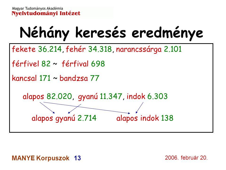2006. február 20. MANYE Korpuszok 13 Néhány keresés eredménye fekete 36.214, fehér 34.318, narancssárga 2.101 férfivel 82 ~ férfival 698 kancsal 171 ~
