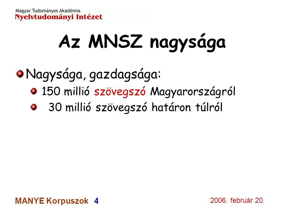 2006. február 20. MANYE Korpuszok 4 Az MNSZ nagysága Nagysága, gazdagsága: 150 millió szövegszó Magyarországról 30 millió szövegszó határon túlról