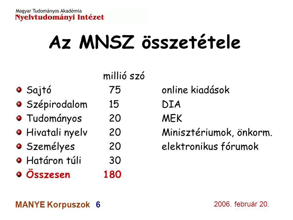 2006. február 20. MANYE Korpuszok 6 Az MNSZ összetétele millió szó Sajtó 75 online kiadások Szépirodalom 15DIA Tudományos 20MEK Hivatali nyelv 20Minis