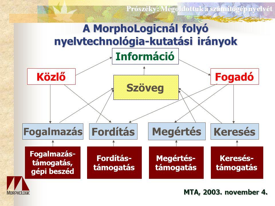 Megoldottuk a számítógép nyelvét... Prószéky Gábor www..hu proszeky@morphologic.hu MTA, 2003.