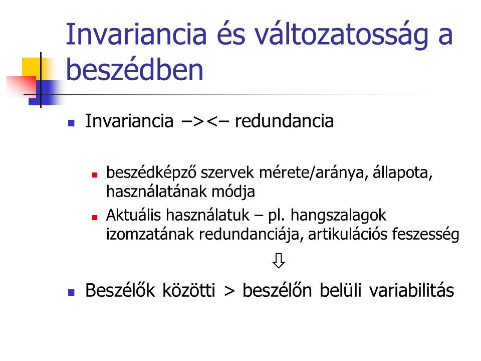 Invariancia és változatosság a beszédben Invariancia –><– redundancia beszédképző szervek mérete/aránya, állapota, használatának módja Aktuális használatuk – pl.