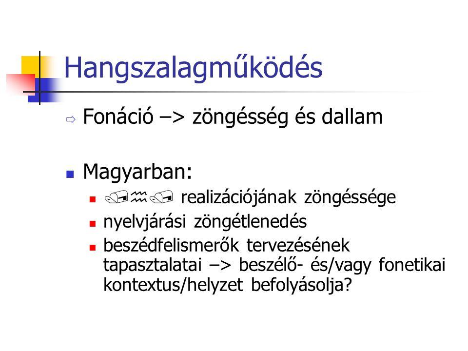 Hangszalagműködés  Fonáció –> zöngésség és dallam Magyarban:  realizációjának zöngéssége nyelvjárási zöngétlenedés beszédfelismerők tervezésének tapasztalatai –> beszélő- és/vagy fonetikai kontextus/helyzet befolyásolja