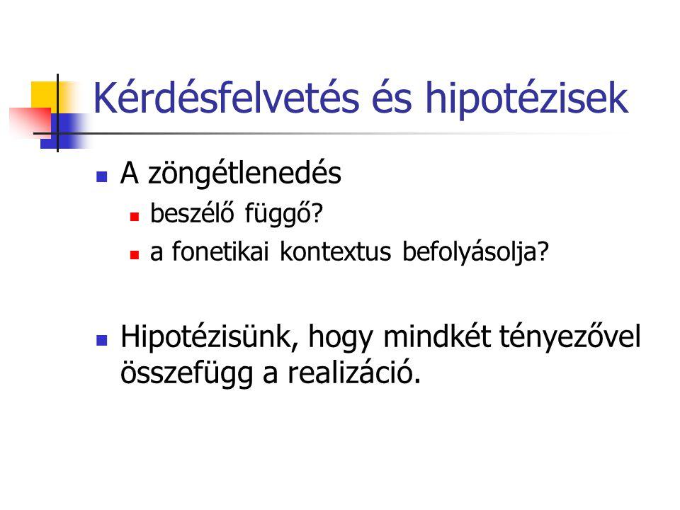 Kérdésfelvetés és hipotézisek A zöngétlenedés beszélő függő.