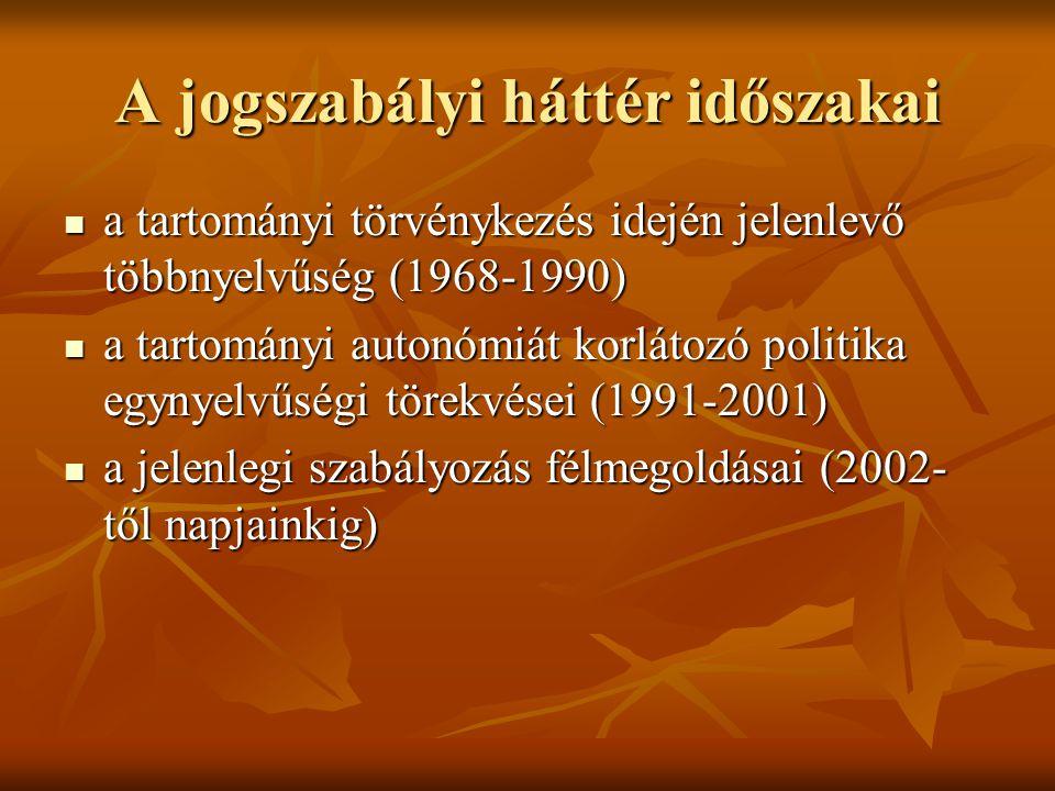 A jogszabályi háttér időszakai a tartományi törvénykezés idején jelenlevő többnyelvűség (1968-1990) a tartományi törvénykezés idején jelenlevő többnyelvűség (1968-1990) a tartományi autonómiát korlátozó politika egynyelvűségi törekvései (1991-2001) a tartományi autonómiát korlátozó politika egynyelvűségi törekvései (1991-2001) a jelenlegi szabályozás félmegoldásai (2002- től napjainkig) a jelenlegi szabályozás félmegoldásai (2002- től napjainkig)
