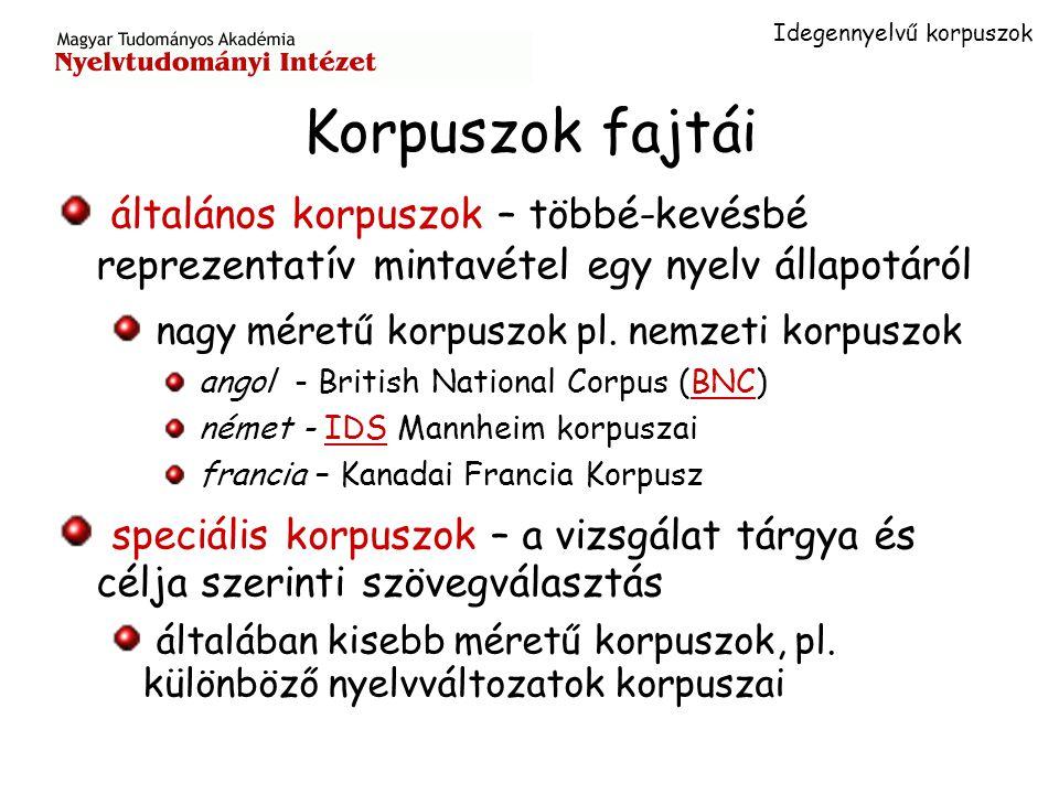 Idegennyelvű korpuszok Korpuszok fajtái általános korpuszok – többé-kevésbé reprezentatív mintavétel egy nyelv állapotáról nagy méretű korpuszok pl.
