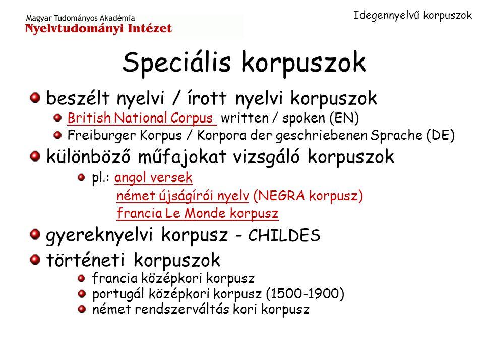Tanulói korpuszok: Longman's Corpus of Learner's English (LCLE)LCLE 10 millió szó 8 különböző nyelvi tudásszint International Corpus of Learner's English (ICLE)ICLE 19 alkorpusz haladó tudásszintű nyelvtanulók magyar nyelvtanulók anyagaival való kiegészítése folyamatban (ELTE, MTA Nyelvtudományi Intézet)