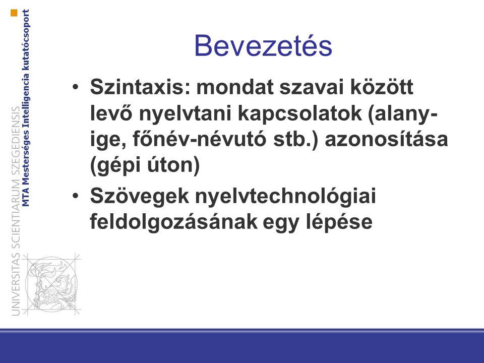 Bevezetés Szintaxis: mondat szavai között levő nyelvtani kapcsolatok (alany- ige, főnév-névutó stb.) azonosítása (gépi úton) Szövegek nyelvtechnológiai feldolgozásának egy lépése