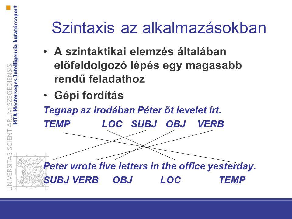 Számítógépes szintaxis Szabályalapú elemzés Statisztikai elemzés –Nagyméretű adatbázisok (treebankek) –Elemzők (parserek) –Konstituens-nyelvtan –Függőségi nyelvtan