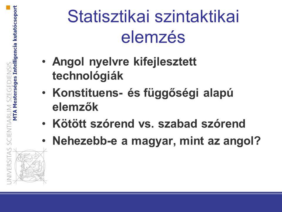 Statisztikai szintaktikai elemzés Angol nyelvre kifejlesztett technológiák Konstituens- és függőségi alapú elemzők Kötött szórend vs.