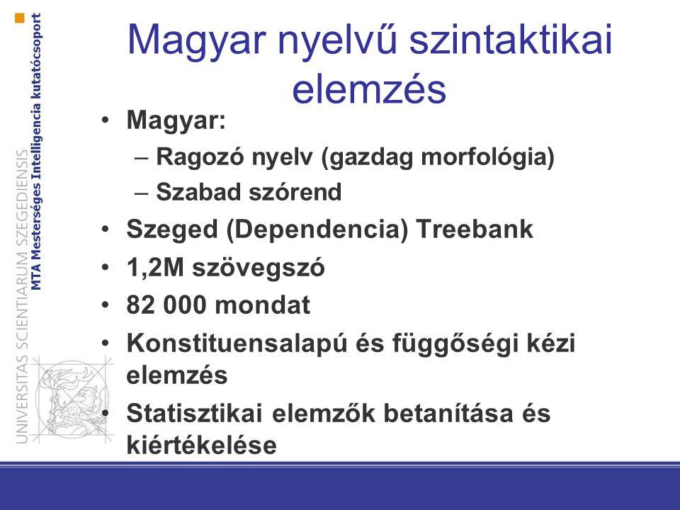 Kísérletek Angol elemzők magyar nyelvre történő adaptálása Konstituens- és függőségi elemző is elfogadható eredményeket nyújt Nyelvspecifikus hibák