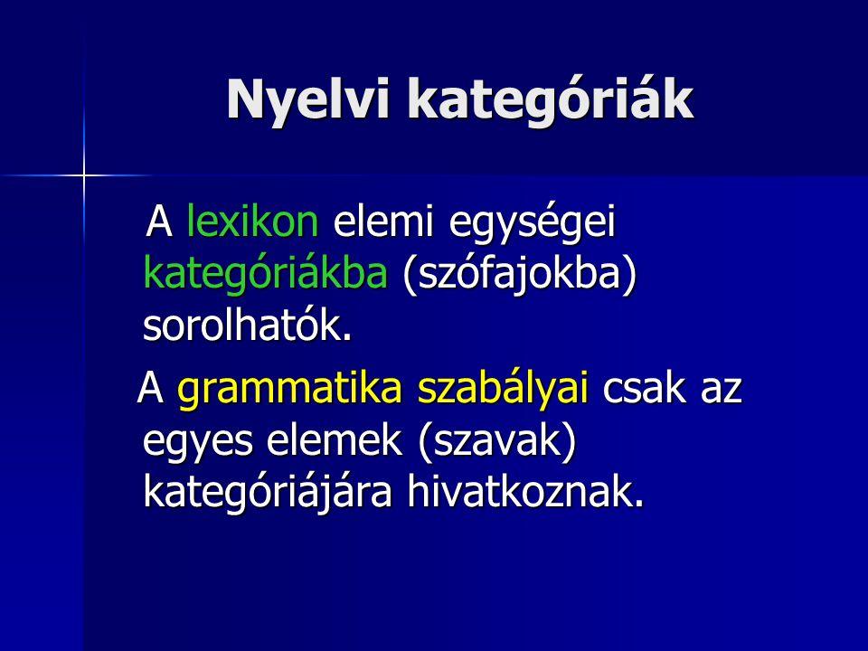 Nyelvi kategóriák A lexikon elemi egységei kategóriákba (szófajokba) sorolhatók.