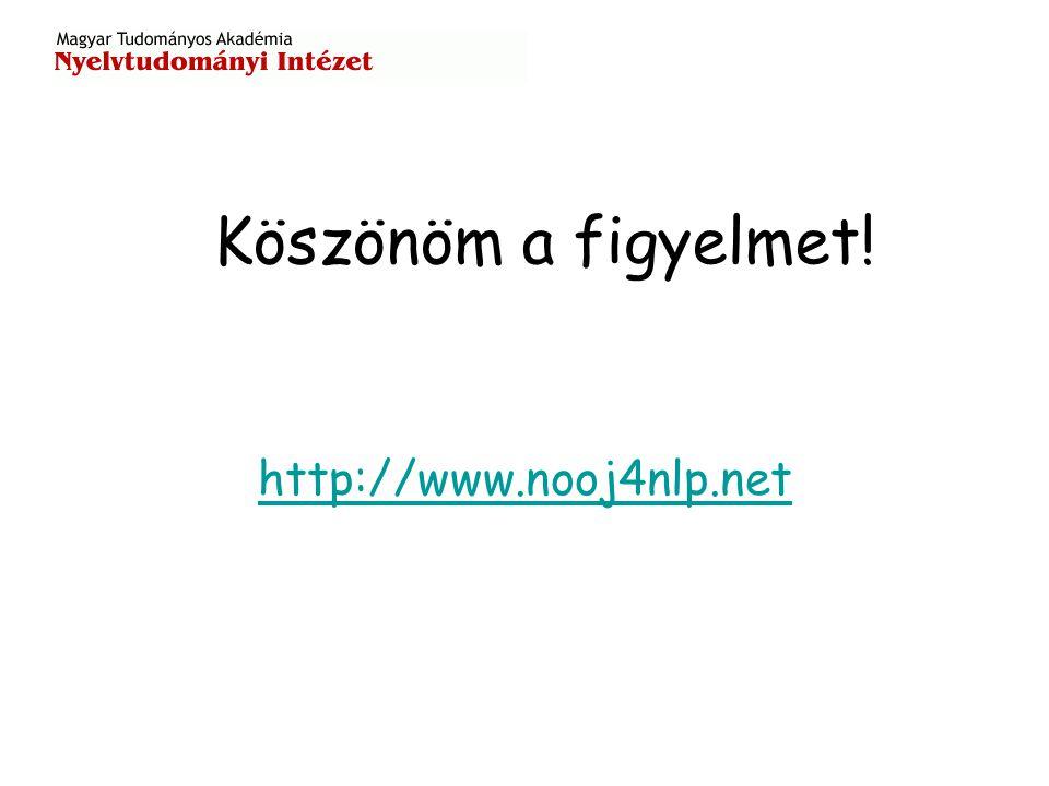 Köszönöm a figyelmet! http://www.nooj4nlp.net