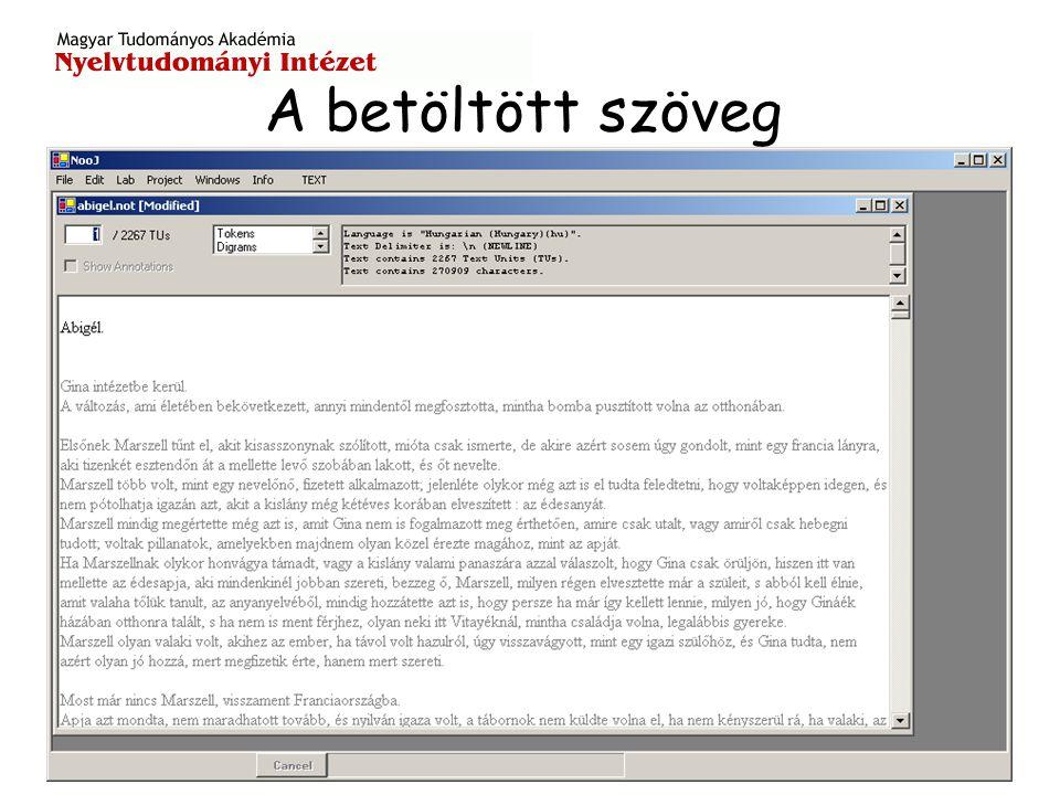 Lemma (szótő) keresése a szövegben