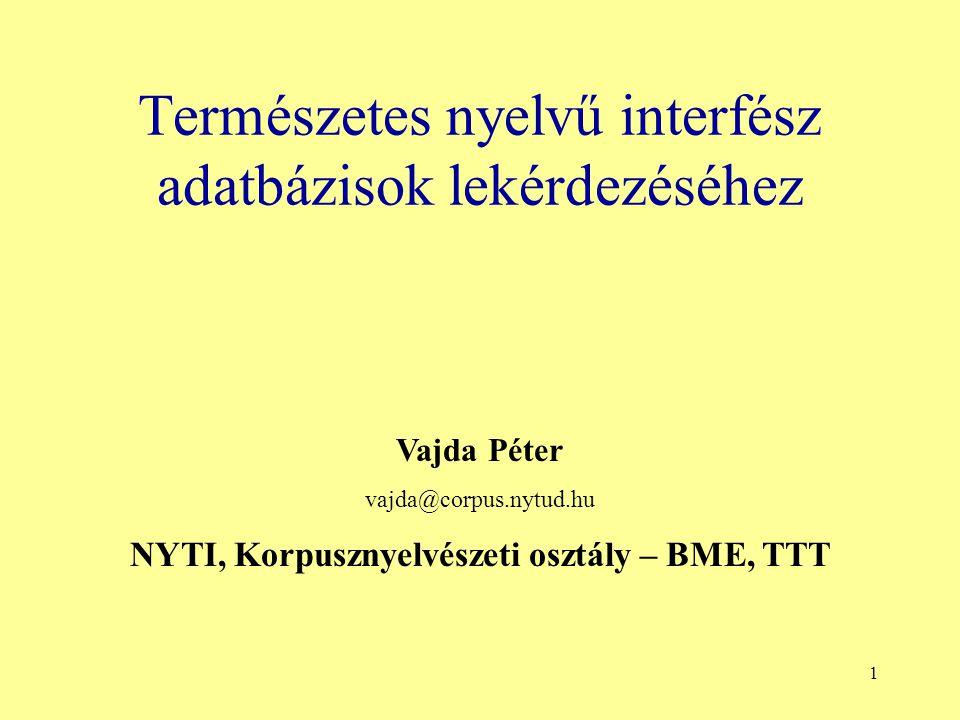 1 Természetes nyelvű interfész adatbázisok lekérdezéséhez Vajda Péter vajda@corpus.nytud.hu NYTI, Korpusznyelvészeti osztály – BME, TTT