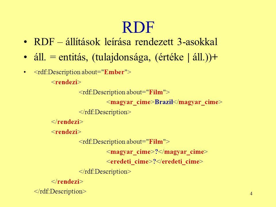 4 RDF RDF – állítások leírása rendezett 3-asokkal áll. = entitás, (tulajdonsága, (értéke | áll.))+ Brazil ? ?