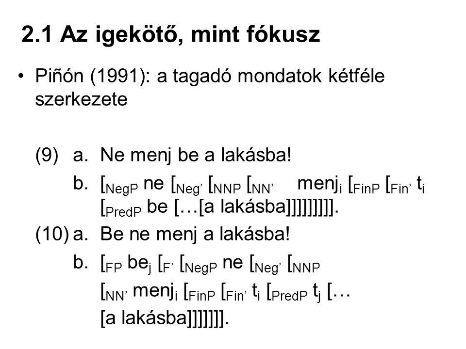 2.1 Az igekötő, mint fókusz Piñón (1991): a tagadó mondatok kétféle szerkezete (9) a. Ne menj be a lakásba! b. [ NegP ne [ Neg' [ NNP [ NN' menj i [ F