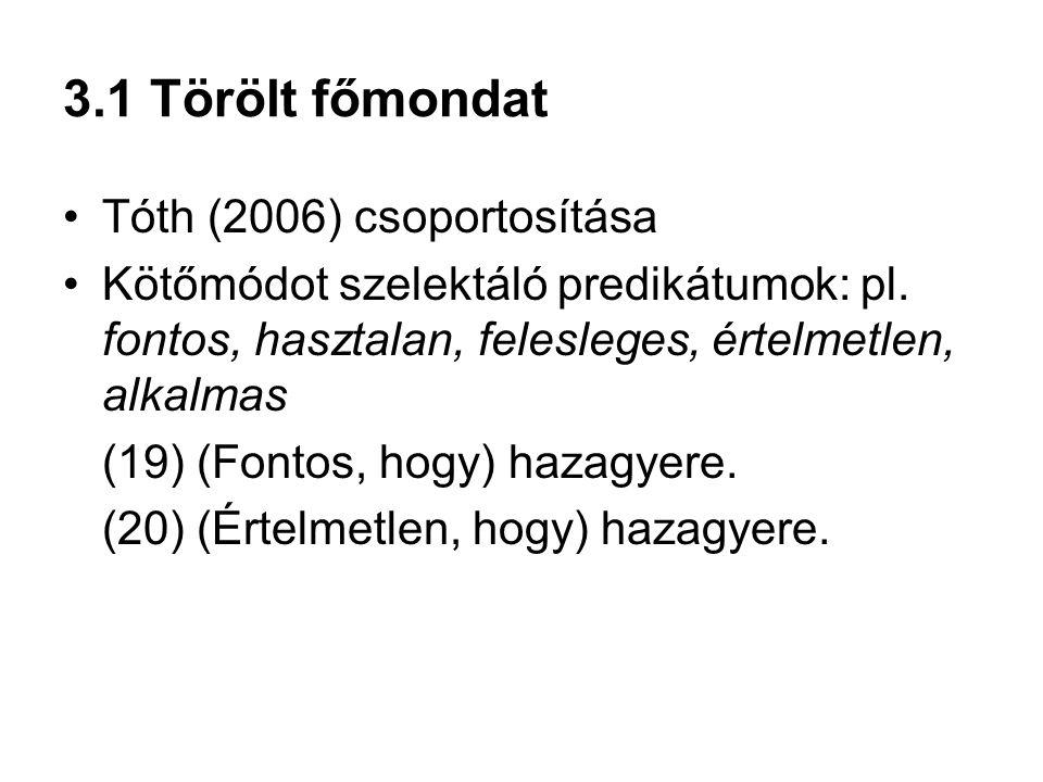 3.1 Törölt főmondat Tóth (2006) csoportosítása Kötőmódot szelektáló predikátumok: pl. fontos, hasztalan, felesleges, értelmetlen, alkalmas (19) (Fonto