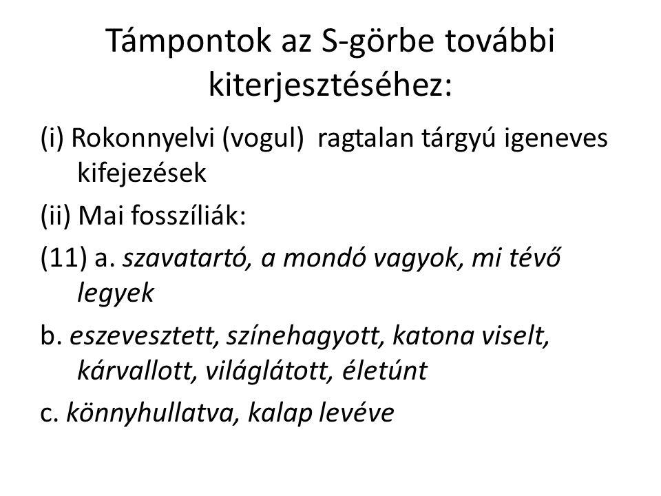 Támpontok az S-görbe további kiterjesztéséhez: (i) Rokonnyelvi (vogul) ragtalan tárgyú igeneves kifejezések (ii) Mai fosszíliák: (11) a.
