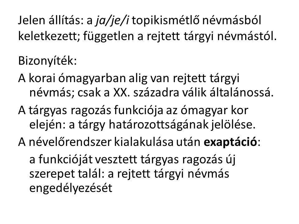 Jelen állítás: a ja/je/i topikismétlő névmásból keletkezett; független a rejtett tárgyi névmástól.