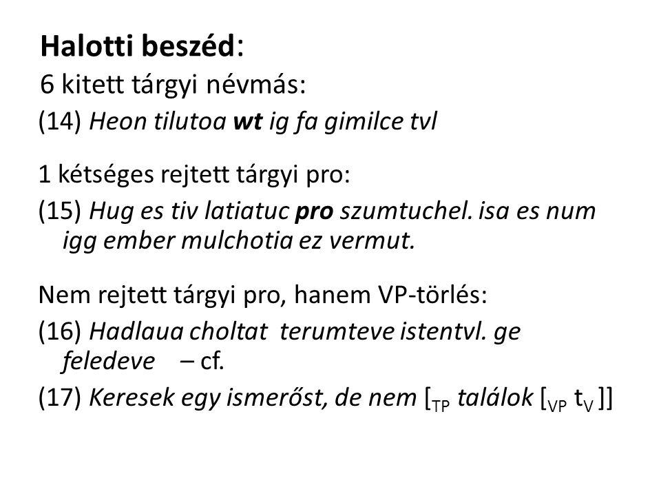 Halotti beszéd : 6 kitett tárgyi névmás: (14) Heon tilutoa wt ig fa gimilce tvl 1 kétséges rejtett tárgyi pro: (15) Hug es tiv latiatuc pro szumtuchel.