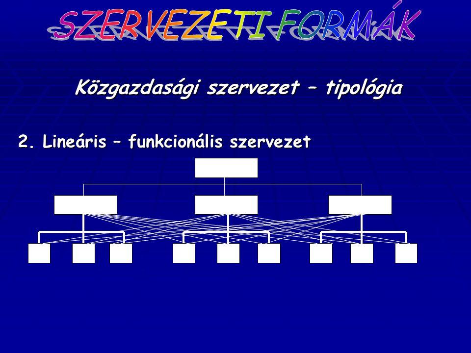 Közgazdasági szervezet – tipológia 2. Lineáris – funkcionális szervezet