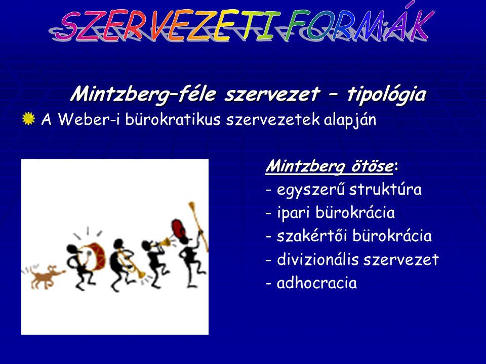 Mintzberg–féle szervezet – tipológia A Weber-i bürokratikus szervezetek alapján Mintzberg ötöse: - egyszerű struktúra - ipari bürokrácia - szakértői b