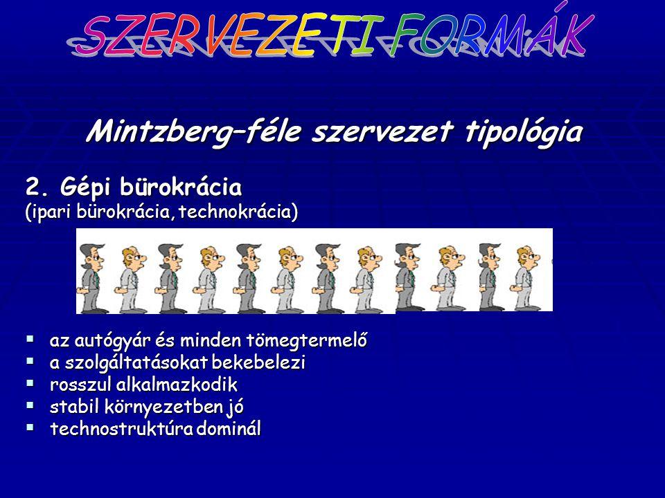 Mintzberg–féle szervezet tipológia 2. Gépi bürokrácia (ipari bürokrácia, technokrácia)  az autógyár és minden tömegtermelő  a szolgáltatásokat bekeb