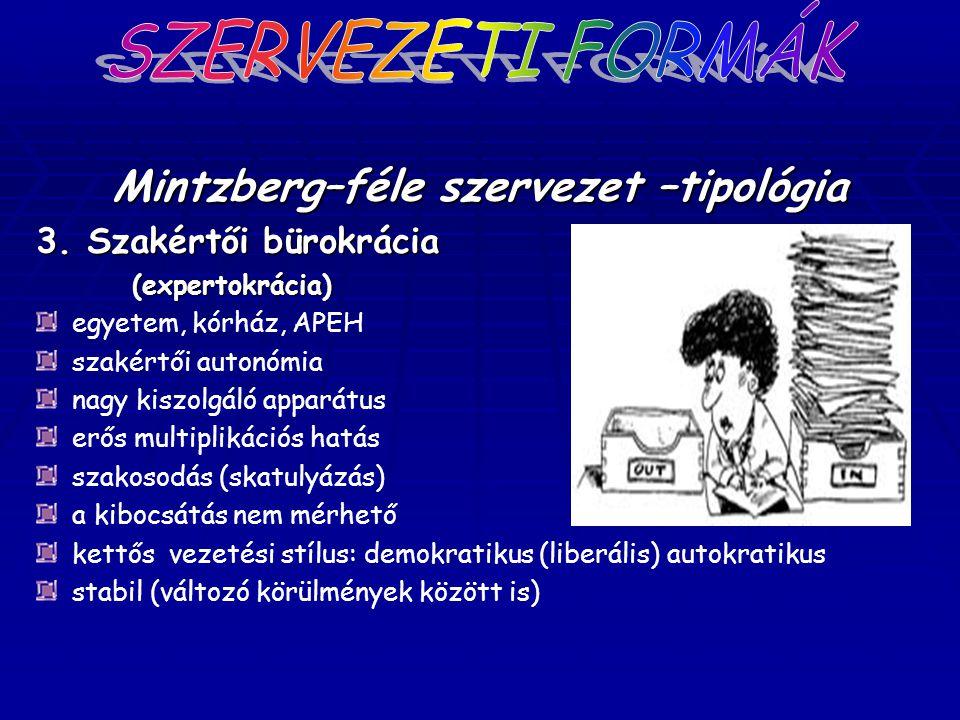 Mintzberg–féle szervezet –tipológia 3. Szakértői bürokrácia (expertokrácia) egyetem, kórház, APEH szakértői autonómia nagy kiszolgáló apparátus erős m