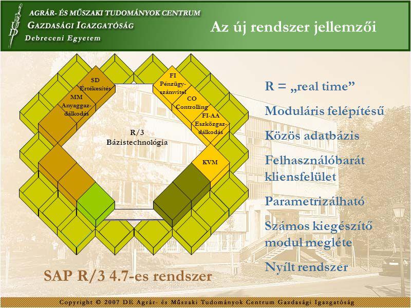 Az új rendszer jellemzői R/3 Bázistechnológia FI Pénzügy- számvitel CO Controlling FI-AA Eszközgaz- dálkodás KVM MM Anyaggaz- dálkodás SD Értékesítés
