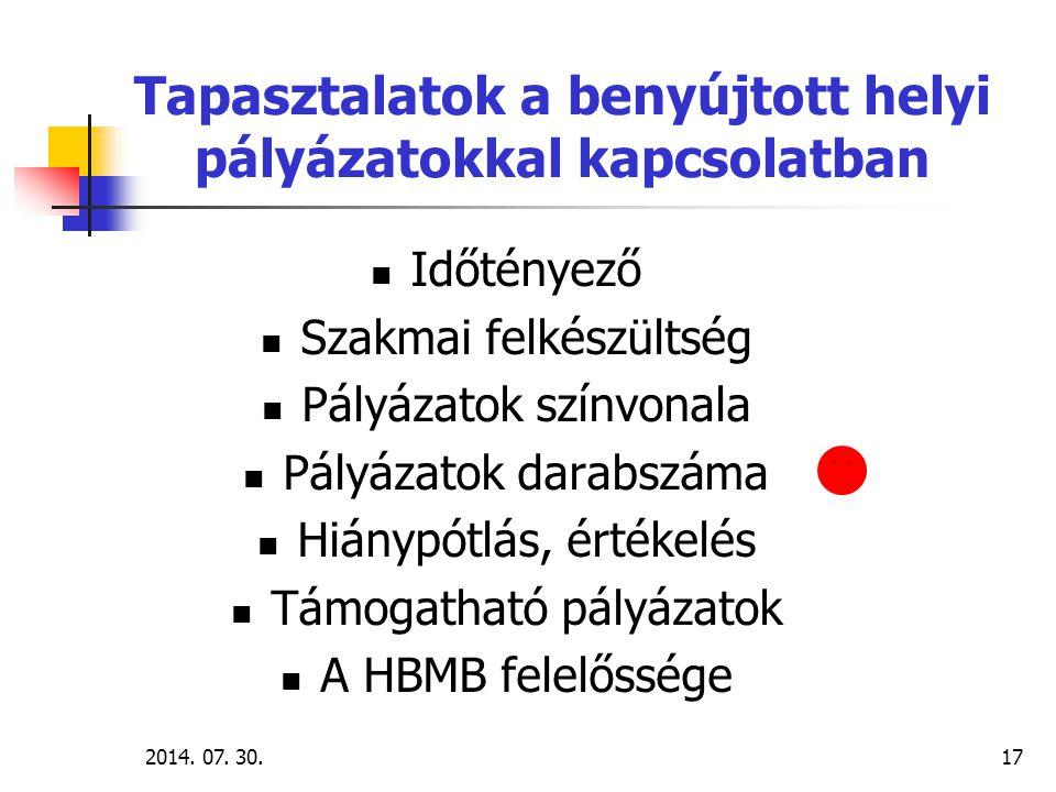 2014. 07. 30.17 Tapasztalatok a benyújtott helyi pályázatokkal kapcsolatban Időtényező Szakmai felkészültség Pályázatok színvonala Pályázatok darabszá