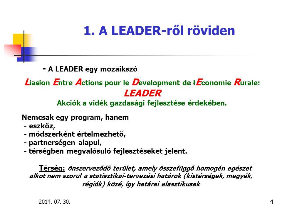 2014. 07. 30.4 - A LEADER egy mozaikszó L iasion E ntre A ctions pour le D evelopment de ł E conomie R urale: LEADER Akciók a vidék gazdasági fejleszt