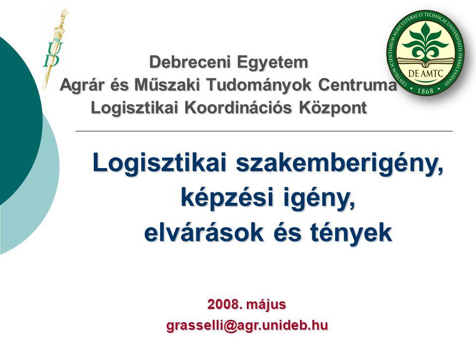Debreceni Egyetem Agrár és Műszaki Tudományok Centruma Logisztikai Koordinációs Központ Logisztikai szakemberigény, képzési igény, elvárások és tények