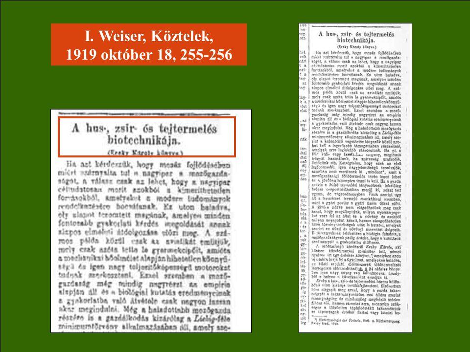 I. Weiser, Köztelek, 1919 október 18, 255-256