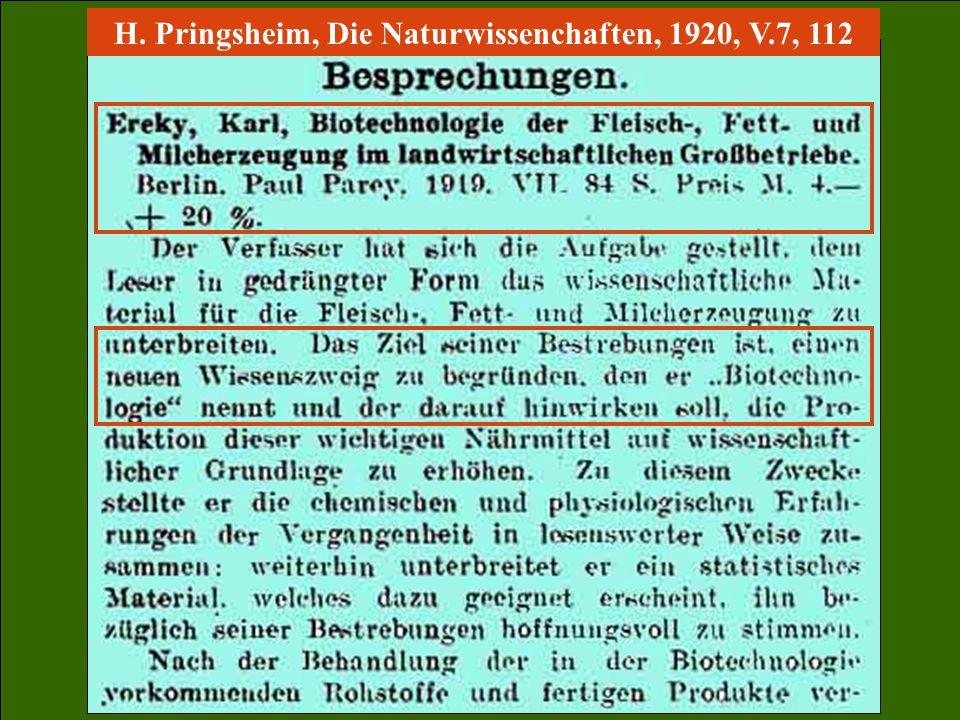 H. Pringsheim, Die Naturwissenchaften, 1920, V.7, 112