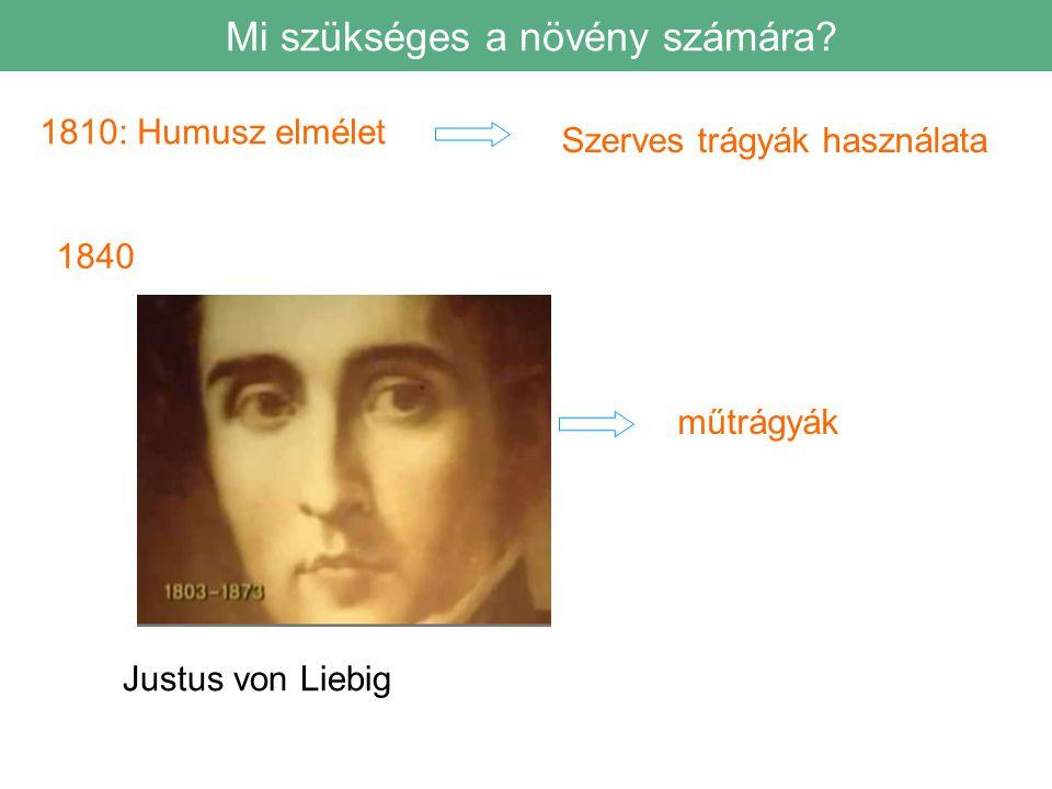 1810: Humusz elmélet Szerves trágyák használata 1840 műtrágyák Justus von Liebig Mi szükséges a növény számára?