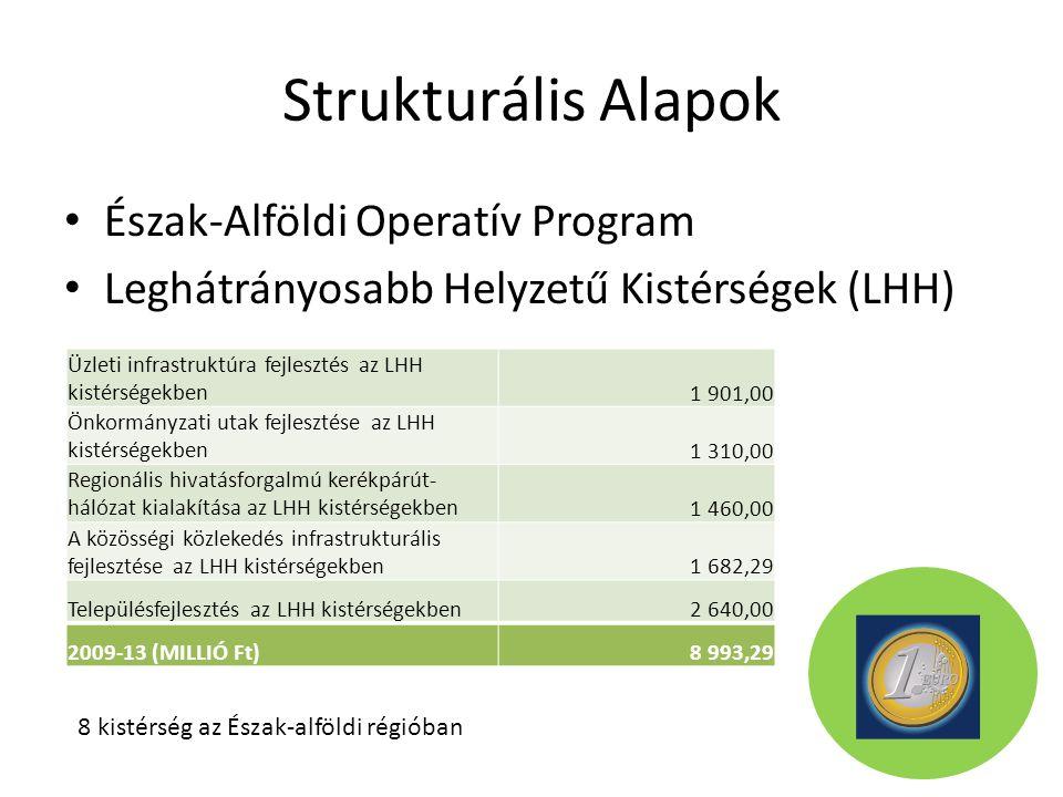 Strukturális Alapok Észak-Alföldi Operatív Program Leghátrányosabb Helyzetű Kistérségek (LHH) Üzleti infrastruktúra fejlesztés az LHH kistérségekben1 901,00 Önkormányzati utak fejlesztése az LHH kistérségekben1 310,00 Regionális hivatásforgalmú kerékpárút- hálózat kialakítása az LHH kistérségekben1 460,00 A közösségi közlekedés infrastrukturális fejlesztése az LHH kistérségekben1 682,29 Településfejlesztés az LHH kistérségekben2 640,00 2009-13 (MILLIÓ Ft)8 993,29 8 kistérség az Észak-alföldi régióban