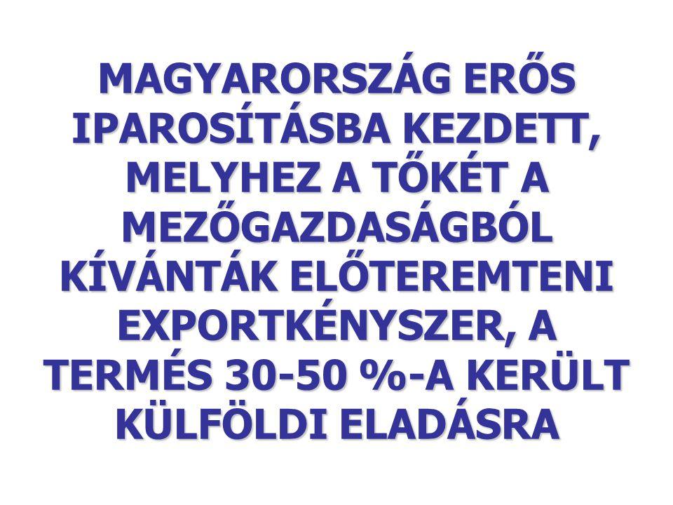 MAGYARORSZÁG ERŐS IPAROSÍTÁSBA KEZDETT, MELYHEZ A TŐKÉT A MEZŐGAZDASÁGBÓL KÍVÁNTÁK ELŐTEREMTENI EXPORTKÉNYSZER, A TERMÉS 30-50 %-A KERÜLT KÜLFÖLDI ELADÁSRA