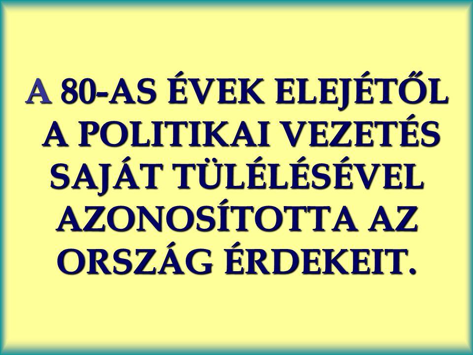 A 80-AS ÉVEK ELEJÉTŐL A POLITIKAI VEZETÉS SAJÁT TÜLÉLÉSÉVEL AZONOSÍTOTTA AZ ORSZÁG ÉRDEKEIT.