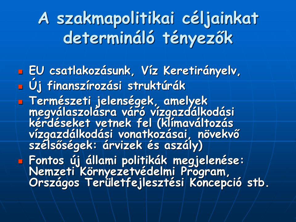 A szakmapolitikai céljainkat determináló tényezők EU csatlakozásunk, Víz Keretirányelv, EU csatlakozásunk, Víz Keretirányelv, Új finanszírozási strukt