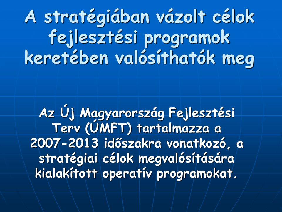 A stratégiában vázolt célok fejlesztési programok keretében valósíthatók meg Az Új Magyarország Fejlesztési Terv (ÚMFT) tartalmazza a 2007-2013 időszakra vonatkozó, a stratégiai célok megvalósítására kialakított operatív programokat.
