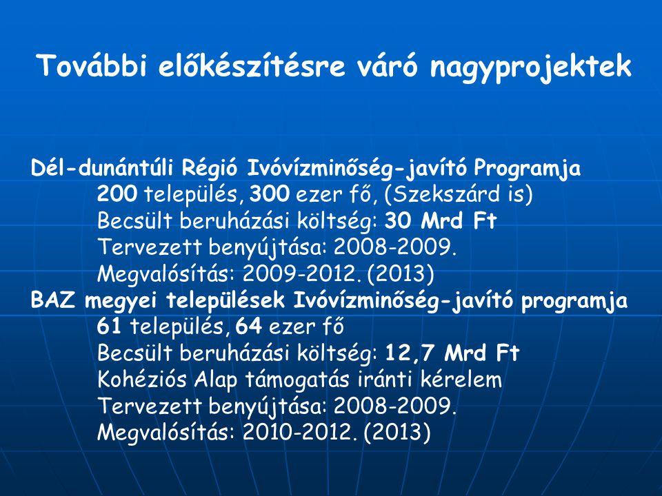 További előkészítésre váró nagyprojektek Dél-dunántúli Régió Ivóvízminőség-javító Programja 200 település, 300 ezer fő, (Szekszárd is) Becsült beruházási költség: 30 Mrd Ft Tervezett benyújtása: 2008-2009.