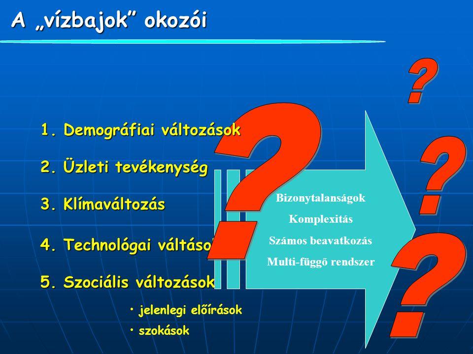 """A """"vízbajok"""" okozói 2. Üzleti tevékenység 3. Klímaváltozás 4. Technológai váltások 5. Szociális változások jelenlegi előírások szokások Bizonytalanság"""