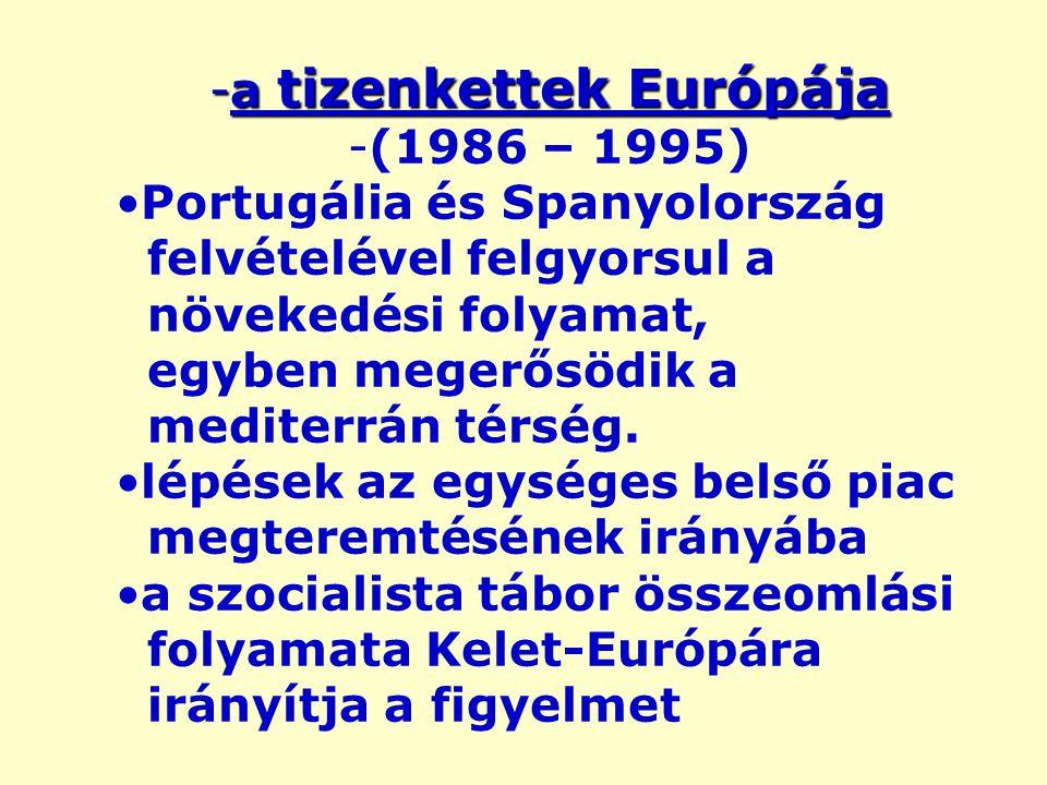 -a tizenkettek Európája -(1986 – 1995) Portugália és Spanyolország felvételével felgyorsul a növekedési folyamat, egyben megerősödik a mediterrán térség.