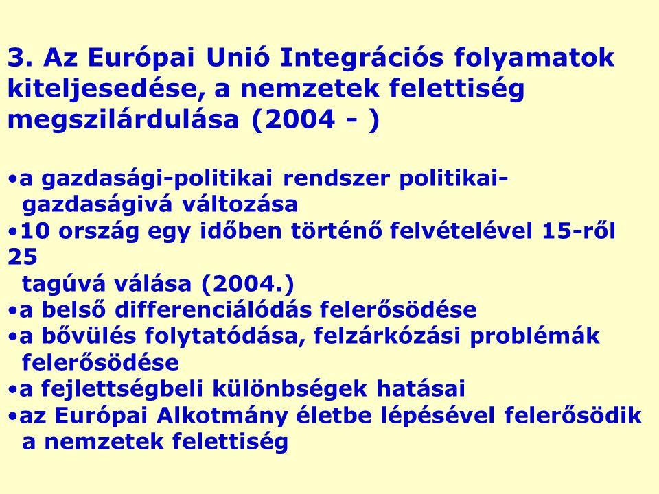 3. Az Európai Unió Integrációs folyamatok kiteljesedése, a nemzetek felettiség megszilárdulása (2004 - ) a gazdasági-politikai rendszer politikai- gaz