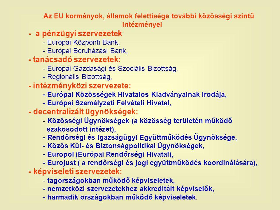 Az EU kormányok, államok felettisége további közösségi szintű intézményei - a pénzügyi szervezetek - Európai Központi Bank, - Európai Beruházási Bank, - tanácsadó szervezetek: - Európai Gazdasági és Szociális Bizottság, - Regionális Bizottság, - intézményközi szervezete: - Európai Közösségek Hivatalos Kiadványainak Irodája, - Európai Személyzeti Felvételi Hivatal, - decentralizált ügynökségek: - Közösségi Ügynökségek (a közösség területén működő szakosodott intézet), - Rendőrségi és Igazságügyi Együttműködés Ügynöksége, - Közös Kül- és Biztonságpolitikai Ügynökségek, - Europol (Európai Rendőrségi Hivatal), - Eurojust ( a rendőrségi és jogi együttműködés koordinálására), - képviseleti szervezetek: - tagországokban működő képviseletek, - nemzetközi szervezetekhez akkreditált képviselők, - harmadik országokban működő képviseletek.