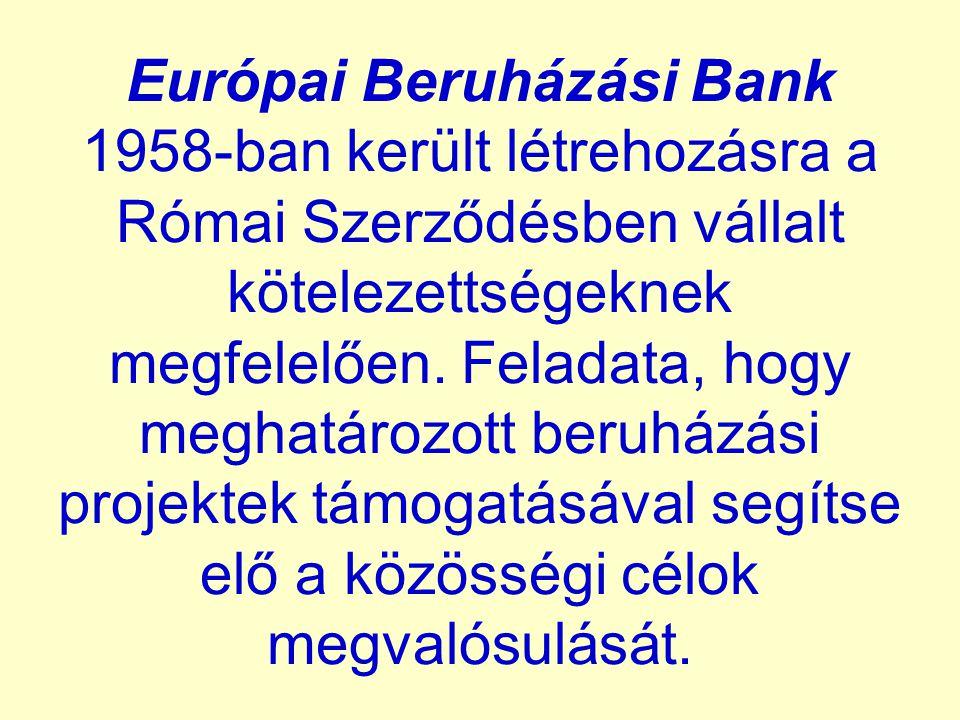 Európai Beruházási Bank 1958-ban került létrehozásra a Római Szerződésben vállalt kötelezettségeknek megfelelően. Feladata, hogy meghatározott beruház