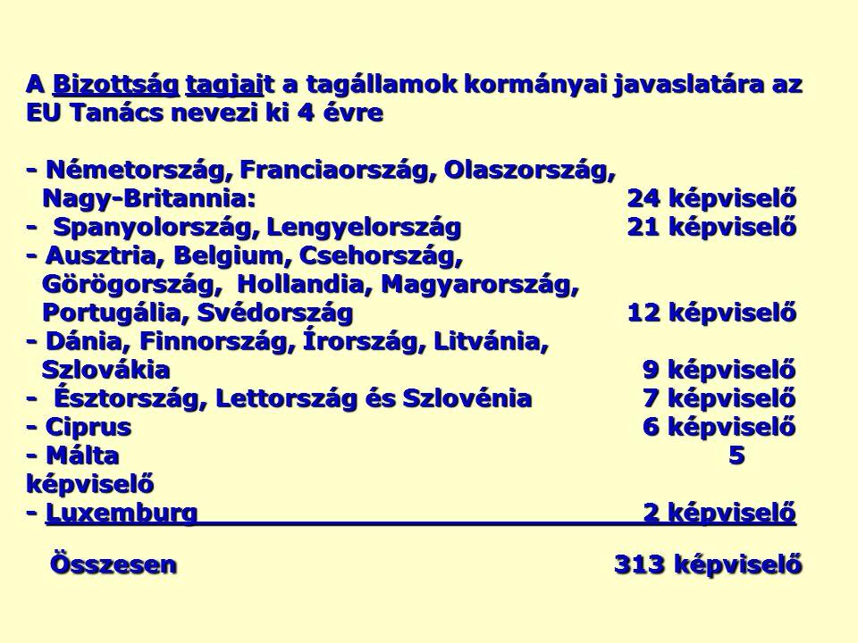 A Bizottság tagjait a tagállamok kormányai javaslatára az EU Tanács nevezi ki 4 évre - Németország, Franciaország, Olaszország, Nagy-Britannia: 24 képviselő - Spanyolország, Lengyelország21 képviselő - Ausztria, Belgium, Csehország, Görögország, Hollandia, Magyarország, Portugália, Svédország12 képviselő - Dánia, Finnország, Írország, Litvánia, Szlovákia 9 képviselő - Észtország, Lettország és Szlovénia 7 képviselő - Ciprus 6 képviselő - Málta 5 képviselő - Luxemburg 2 képviselő Összesen 313 képviselő